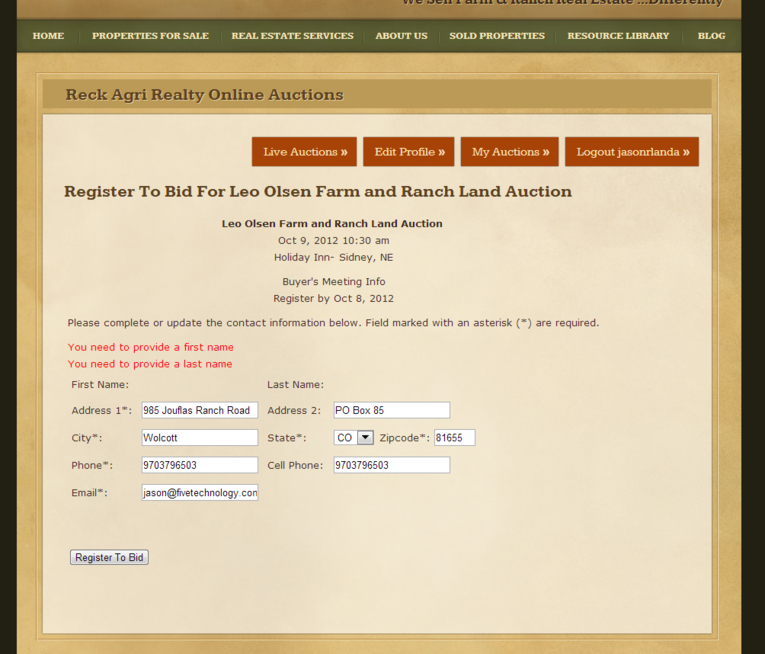 Online Auctions For Farm And Ranch Real Estate Five Technology
