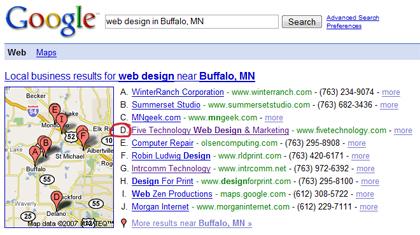 Google Local web design