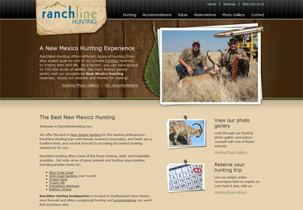 web design for hunting website