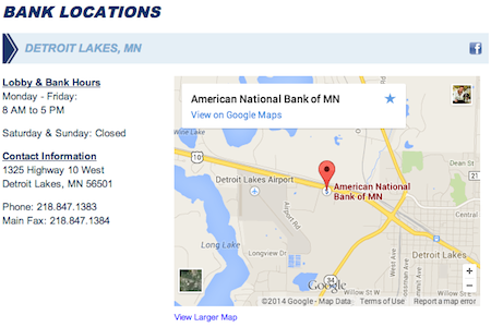 Bank Locations Page